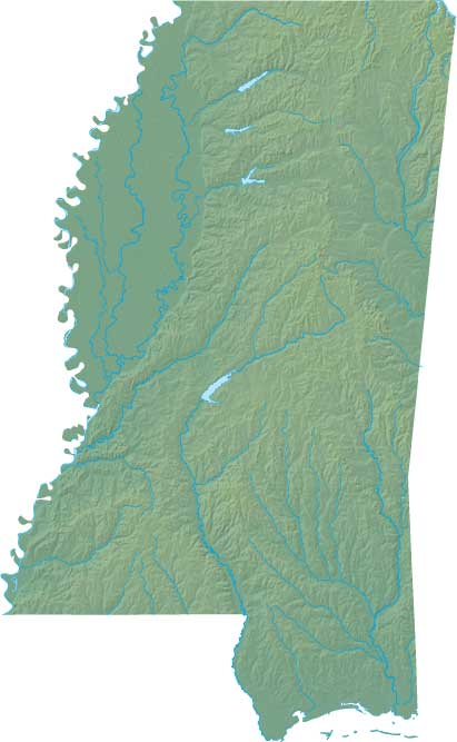 Mississippi relief map